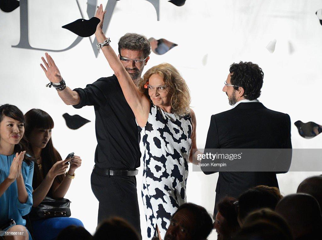 Designers Yvan Mispelaere and Diane Von Furstenberg and Google co-founder Sergey Brin the Diane Von Furstenberg show during Spring 2013 Mercedes-Benz Fashion Week at The Theatre at Lincoln Center on September 9, 2012 in New York City.