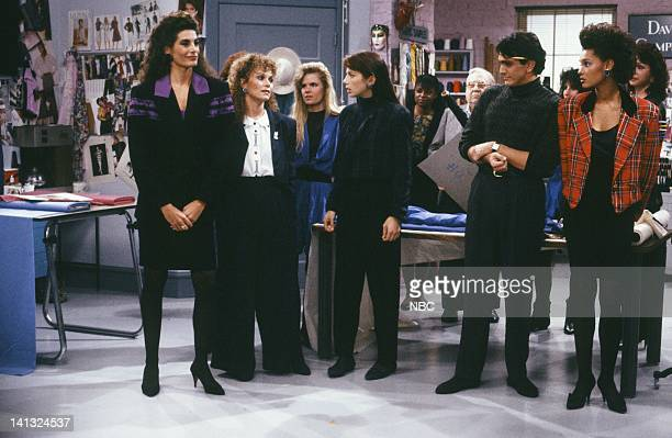 TIES Designing Woman Episode 2 Pictured Hilary Shepard as Yvette Debra Engle as Jamie CarterJustine Bateman as Mallory Keaton Hank Azaria as Joe...