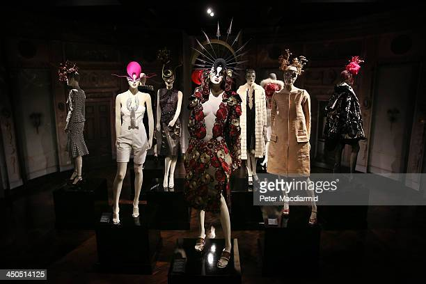 Designs by Alexander McQueen Philip Treacy Manolo Blahnik and others are displayed at the Isabella Blow Fashion Galore exhibition at Somerset House...