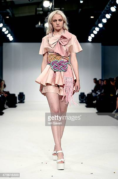 Designs by Arantxa Denegri of the Universidad CENTRO Mexico on day 4 of Graduate Fashion Week sponsored by George at Asda at The Old Truman Brewery...