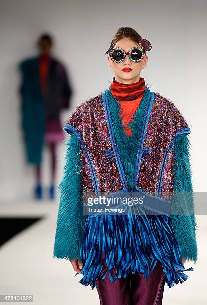 Designs by Jade Davies of the University of East London on day 2 of Graduate Fashion Week at The Old Truman Brewery on May 31 2015 in London England