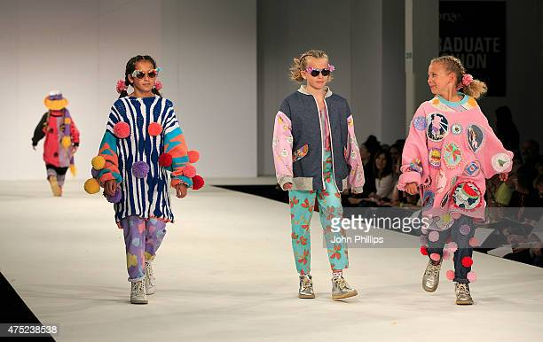 Designs by Jess Russell and Georgia Walter of Arts University Bournemouth on day 1 of Graduate Fashion Week at The Old Truman Brewery on May 30 2015...