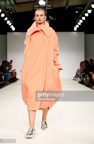 Designs by Jessica Clarke of Norwich University of the Arts on day 1 of Graduate Fashion Week at The Old Truman Brewery on May 30 2015 in London...