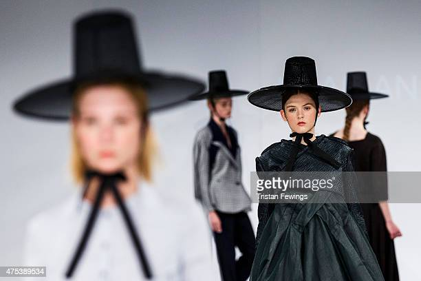 Designs by Jihae An of UCA Rochester on day 1 of Graduate Fashion Week at The Old Truman Brewery on May 30 2015 in London England