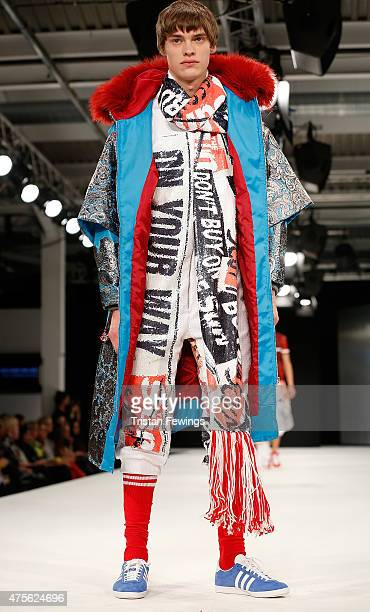 Designs by Kayleigh Walmsley of the University of East London during the Best of Graduate Fashion Week show on day 4 of Graduate Fashion Week at The...
