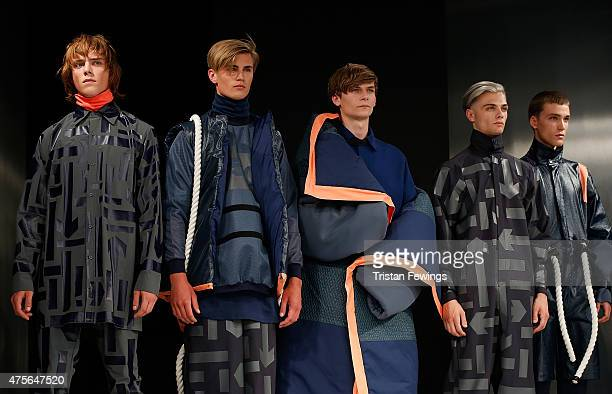 Designs by Megan Kimmance from the University of Central Lancashire on day 4 of Graduate Fashion Week at The Old Truman Brewery on June 2 2015 in...