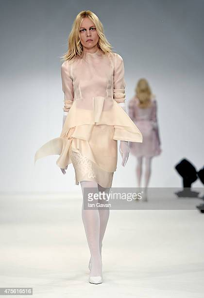 Designs by Michelle Zaga Buzali of the Universidad CENTRO Mexico on day 4 of Graduate Fashion Week sponsored by George at Asda at The Old Truman...