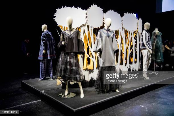 Designs by Ozlem Kaya at the presentation during Mercedes Benz Fashion Week Istanbul at the Zorlu Performance Hall on March 28 2018 in Istanbul Turkey