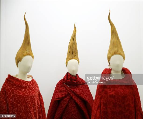 Designs by Rei Kawakubo on display at the 'Rei Kawakubo/Comme des Garcons Art Of The InBetween' Costume Institute Gala Press Preview at Metropolitan...