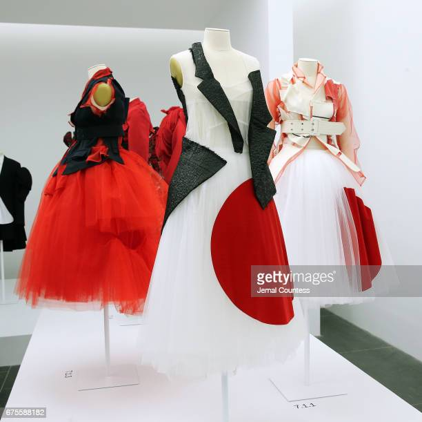 Designs by Rei Kawakubo on display at the Rei Kawakubo/Comme des Garcons Art Of The InBetween Costume Institute Gala Press Preview at Metropolitan...