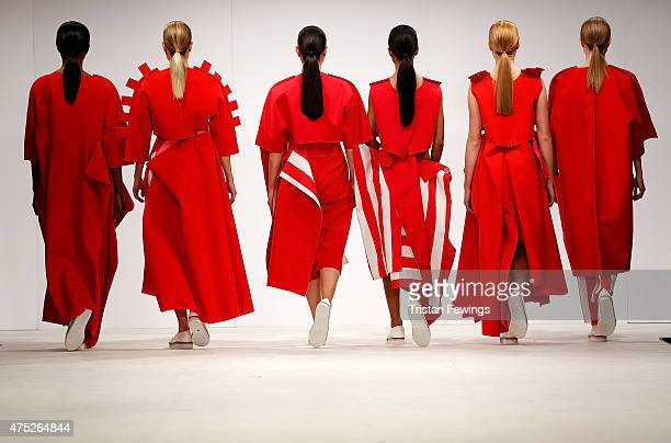 Designs by Victoria Miller of Norwich University of the Arts on day 1 of Graduate Fashion Week at The Old Truman Brewery on May 30 2015 in London...