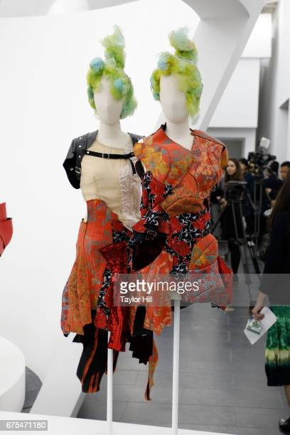 Designs exhibited at 'Rei Kawakubo/Commes Des Garcons Art of the InBetween' at the Metropolitan Museum of Art on May 1 2017 in New York City