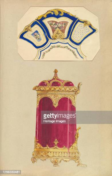 Designs for a Decorated Dish or Platter and a Biscuit Barrel 184555 Artist Alfred Crowquill