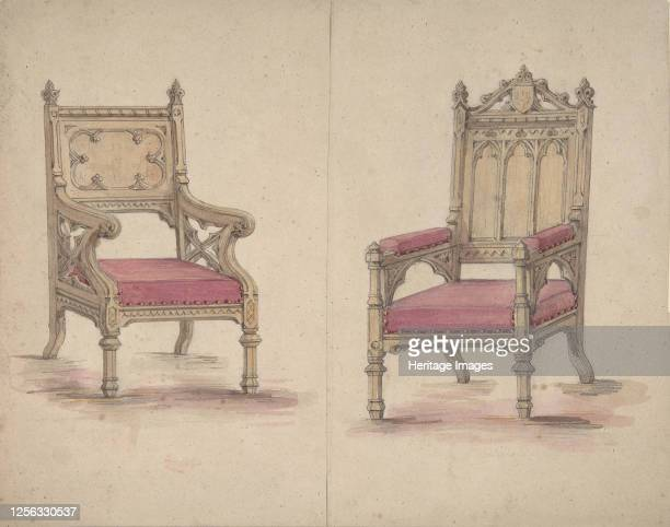 Designs for Two Gothic Style Chairs 19th century Artist Anon