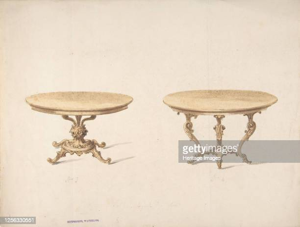 Designs for Two Round Tables early 19th century Artist Anon