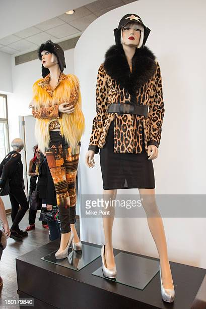 Designs on display at the Helen Yarmak presentation during MercedesBenz Fashion Week Spring 2014 at The Crown Building on September 9 2013 in New...