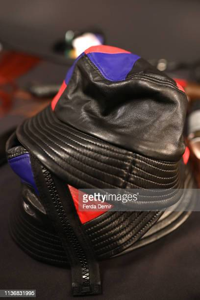 Designs on display backstage ahead the Guntas show during MercedesBenz Istanbul Fashion Week at the Zorlu Performance Hall on March 19 2019 in...