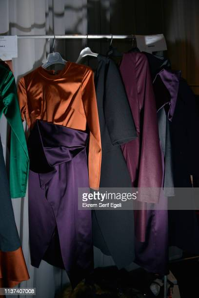 Designs on display backstage on the Ezra Tuba show during MercedesBenz Istanbul Fashion Week on March 21 2019 in Istanbul Turkey