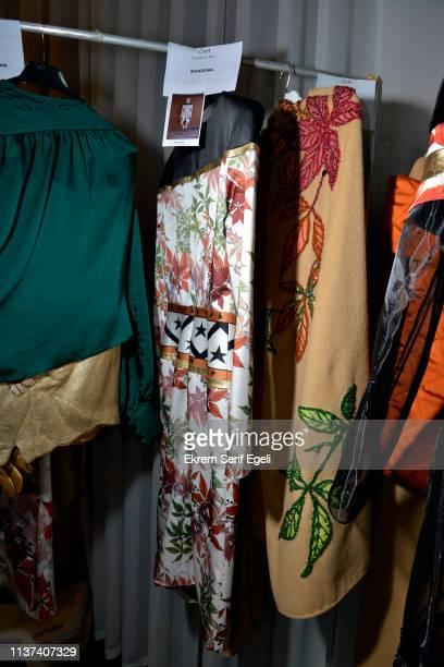 Designs on display backstage on the Ezra Tuba show during MercedesBenz Istanbul Fashion Week on March 21 2019 in Istanbul Turkey