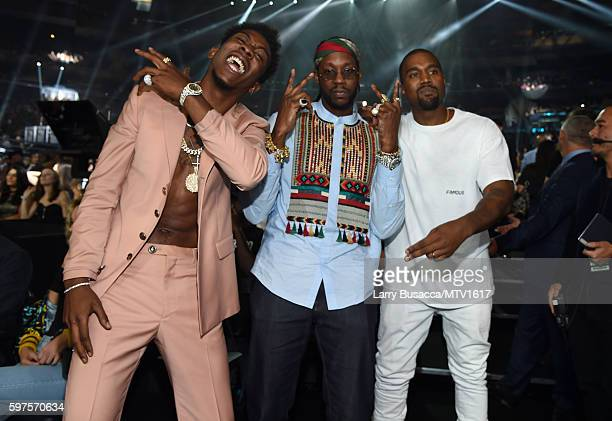Desiigner 2 Chainz and Kanye West attend the 2016 MTV Video Music Awards at Madison Square Garden on August 28 2016 in New York City
