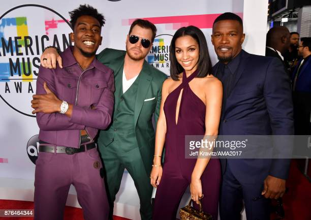 Desiigner David Osokow Corinne Foxx and Jamie Foxx attend the 2017 American Music Awards at Microsoft Theater on November 19 2017 in Los Angeles...