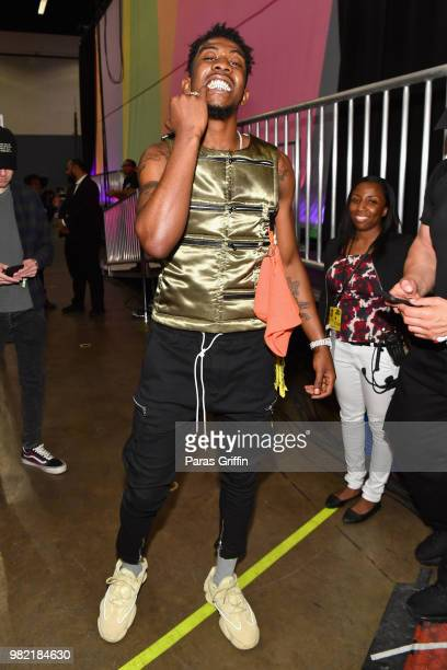 Desiigner poses at the Celebrity Basketball Game Sponsored By Sprite during the 2018 BET Experience at Los Angeles Convention Center on June 23 2018...