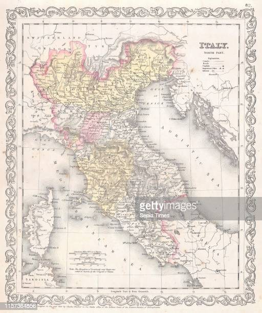 1856 Desilver Map of Northern Italy