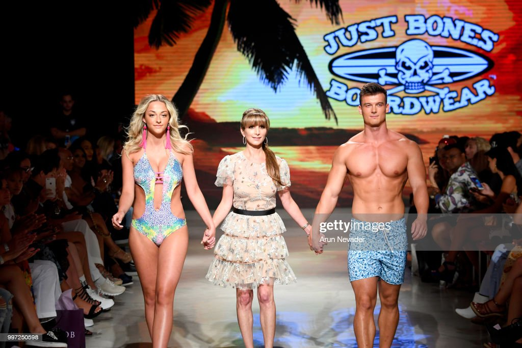 Desinger Jennifer Weisman (C) and models walk the runway for Just Bones Boardwear at Miami Swim Week powered by Art Hearts Fashion Swim/Resort 2018/19 at Faena Forum on July 12, 2018 in Miami Beach, Florida.