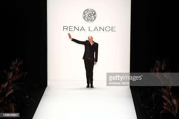 Desinger Karsten Fielit on the runway after the Rena Lange Autumn/Winter 2013/14 fashion show during Mercedes-Benz Fashion Week Berlin at Brandenburg...