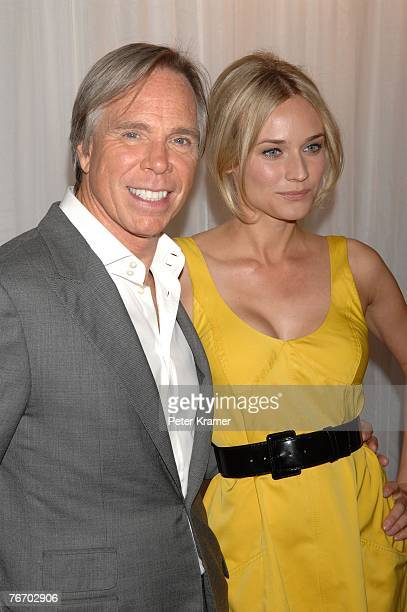 Desinger Tommy Hilfiger and actress Diane Kruger pose backstage at the Tommy Hilfiger Collection 2008 Fashion Show at the Hammerstein Ballroom during...