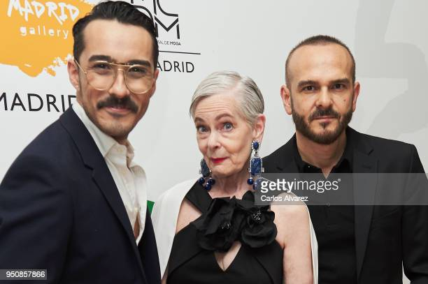 Desingers of The 2nd Skin Co Juan Carlos Fernandez and Antonio Burillo and influencer Lyn Slater attend 'Baile De Las Meninas' party at the Gran...