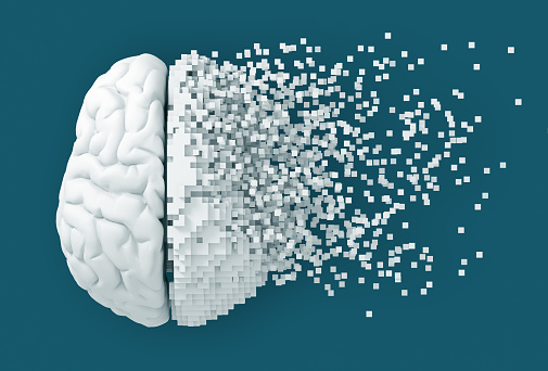 Desintegration Of Digital Brain On Blue Background 1026002288