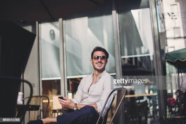 Desirable man in cafe