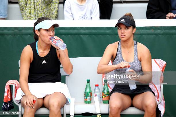 Desirae Krawczyk of The united States an partner Jessica Pegula of The united States during their doubles match against Eri Hozumi of Japan and...