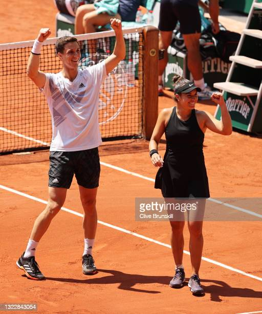 Desirae Krawczyk of The United States and playing partner Joe Salisbury of Great Britain celebrate victory after winning their Mixed Doubles Final...