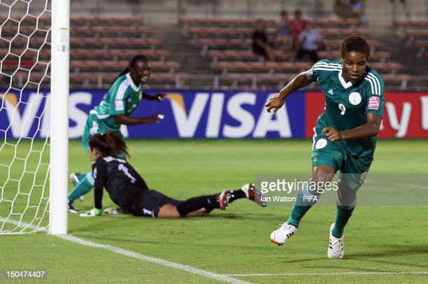 Desire Oparanozie of Nigeria celebrates scoring a goal during the FIFA U20 Women's World Cup Japan 2012 Group B match between Nigeria v Korean...