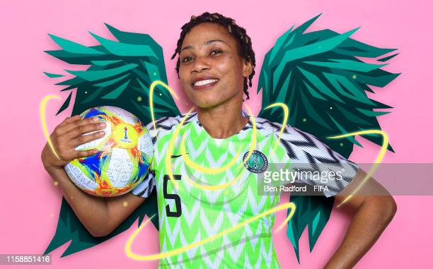Desire Oparanozie of Nigeria poses for a portrait during the official FIFA Women's World Cup 2019 portrait session at Hotel Mercure Reims Centre...