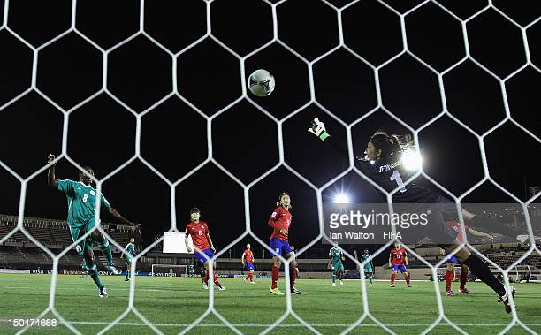 Desire Oparanozie of Nigeria scores a goal during the FIFA U-20 Women's World Cup Japan 2012, Group B match between Nigeria v Korean Republic at...