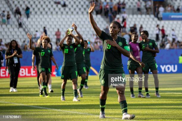 Desire Oparanozie of Nigeria shows appreciation to the supporters during the 2019 FIFA Women's World Cup France Round Of 16 match between Germany and...