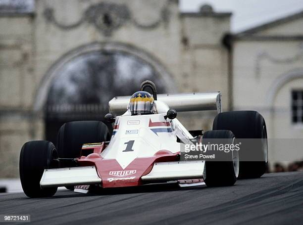 Desire Wilson drives the Racing Tyrrell 008 during the International Gold Cup of the Aurora Formula One Series on 15 April 1979 at the Oulton Park...