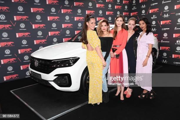 Desiree Balaz, Lara Berlin, Jasmin Lord, Amelie Plaas-Link and Sulaika Lindemann attend the New Faces Award Film at Spindler & Klatt on April 26,...