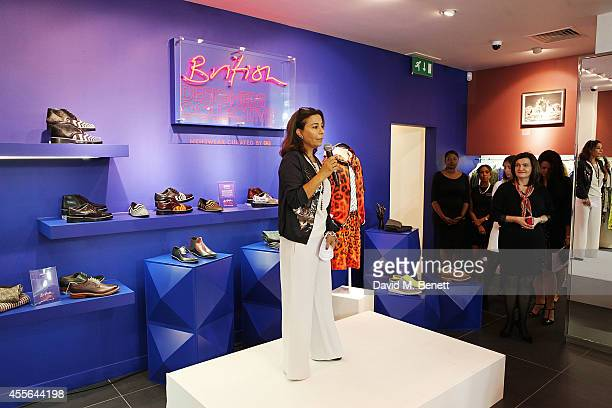 Desiree Bolier attends the official opening of British Designers' Collective Menswear curated by GQ at Bicester Village on September 18 2014 in...