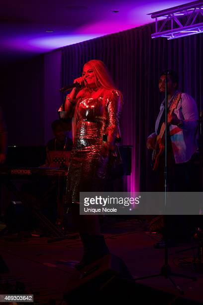 Desiree Coleman Jackson performs at the Private Listening Party For Kadesh aka Desiree Coleman Jackson Hosted By ESPN Sports Analyst Mark Jackson at...
