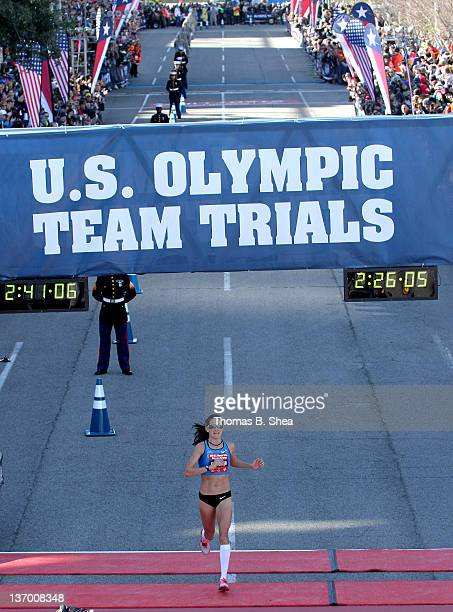 Desiree Davila finishes with a time of 22555 in the US Marathon Olympic Trials January 14 2012 in Houston Texas