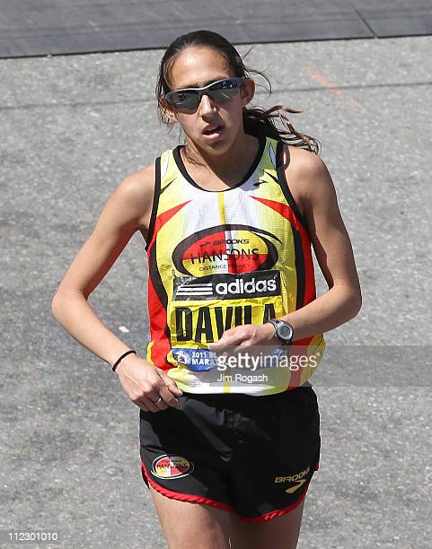 Desiree Davila of the United State places second in the women's division of the 115th running of the Boston Marathon on April 18 2011 in Boston...
