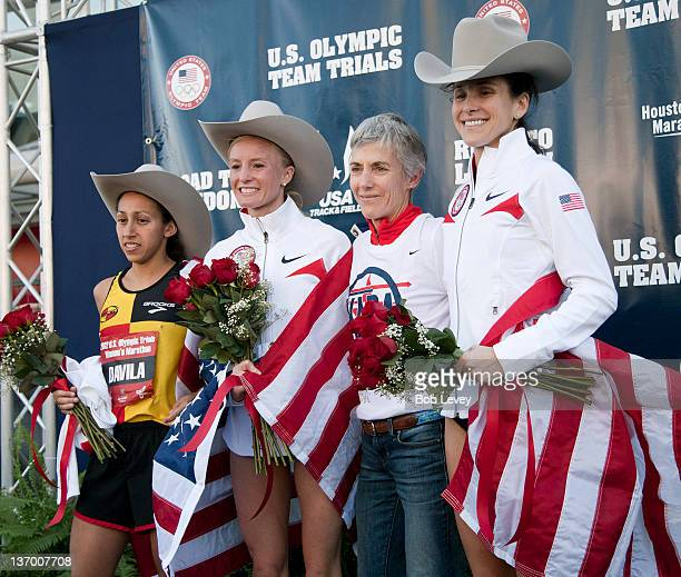 Desiree Davila Shalane Flanagan Joan Benoit Samuelson and Kara Goucher pose on the winners stage during the US Marathon Olympic Trials on January 14...