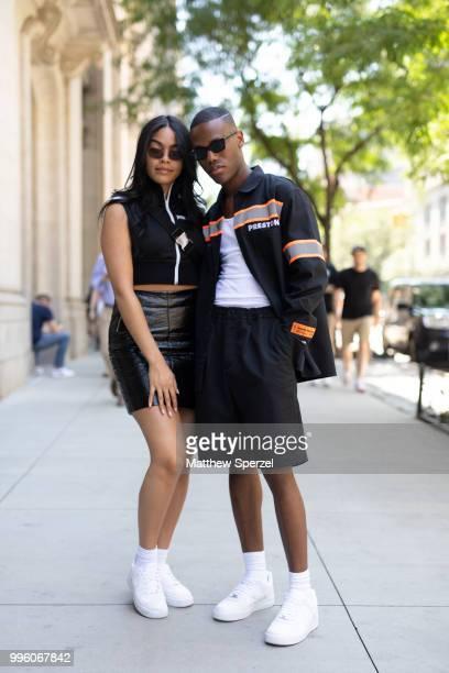 Desiree Gonzales and Travis Fraiser are seen on the street attending Men's New York Fashion Week wearing Heron Preston Marni Nike Palm Angels Asos on...