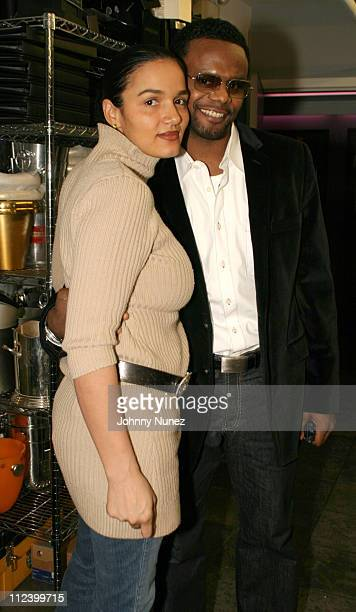 Desiree Gonzalez and Carl Thomas during Carl Thomas' Album Listening Party at 40/40 in New York City New York United States