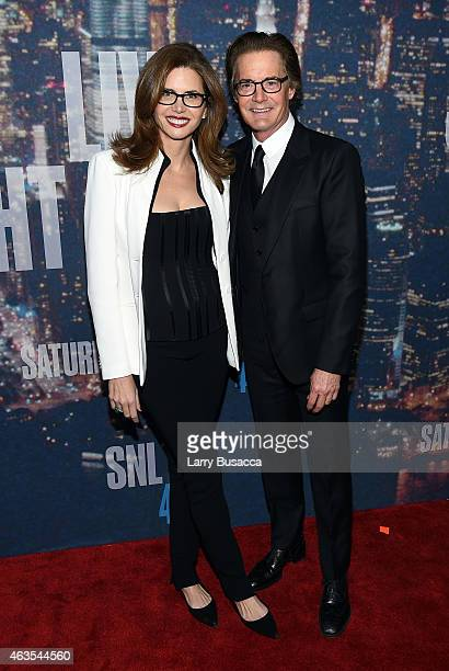 Desiree Gruber and Kyle MacLachlan attend SNL 40th Anniversary Celebration at Rockefeller Plaza on February 15 2015 in New York City