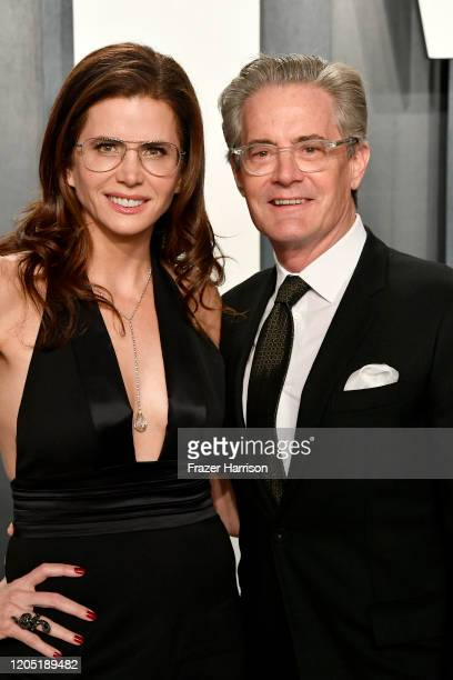 Desiree Gruber and Kyle MacLachlan attend the 2020 Vanity Fair Oscar Party hosted by Radhika Jones at Wallis Annenberg Center for the Performing Arts...